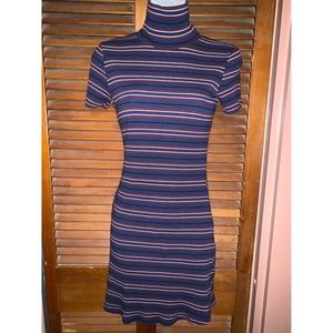 Urban outfitters jersey mock neck striped dress